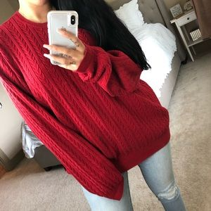 Izod Oversized Red Cable Knit Crew Neck Sweater